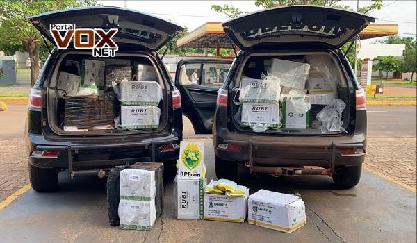 Guaíra – BPFron faz apreensão de 340 kg de agrotóxicos contrabandeados