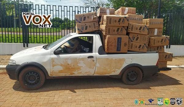 Guaíra – PF e BPFron apreendem duas Fiat Strada carregadas com contrabando