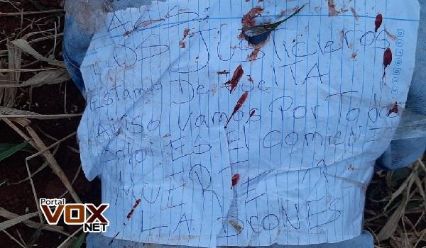 Execução – Corpo de adolescente é encontrado no Paraguai sem mãos e com bilhete: 'os justiceiros estão de volta'