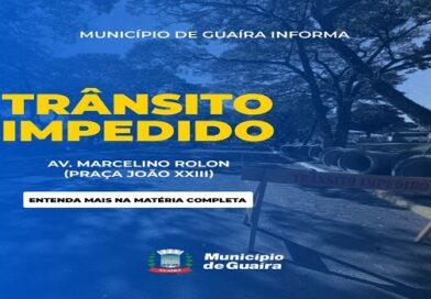 Guaíra – Trânsito impedido na Av. Marcelino Rolon (Praça João XXIII)