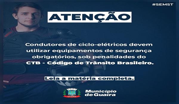 Guaíra – Condutores de ciclo-elétricos devem utilizar equipamentos de segurança obrigatórios
