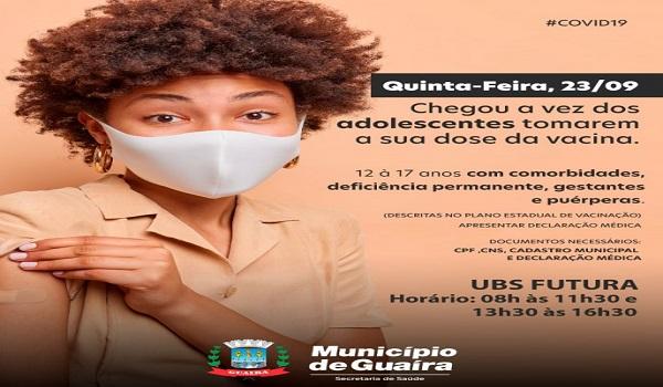 Guaíra – Saúde divulga cronograma de vacinação de adolescentes com comorbidades